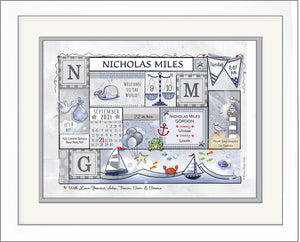 Nautical nursery newborn boy wall art sailboats personalized