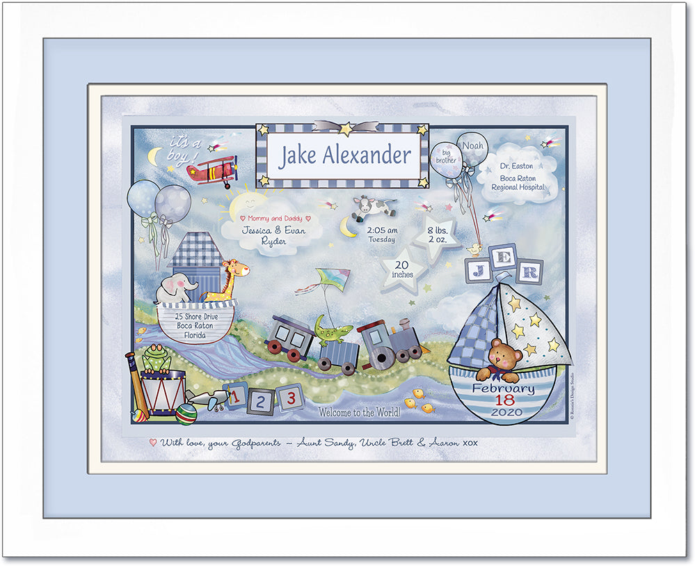 Arrival Day Plane Train Boats Boy Birth Announcement Art Light Blue Pastels