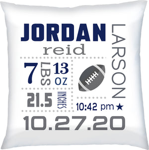 Personalized Baby Birth Announcement Pillow Footall Navy & Grey