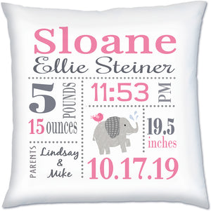 Birth Announcement Pillow- Elephant Pink & Grey by Ronnies Design Studio