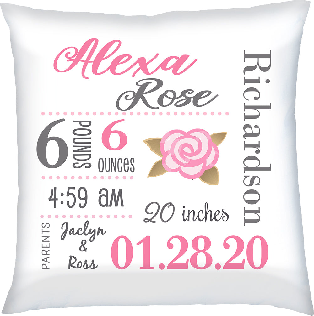 Personalized Birth Announcement Pillow Pink Rose