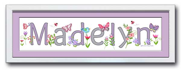 Butterfly Garden Name Frame Wall Art Lilac and Grey
