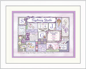 "Personalized Birth Announcement Art ""Patchwork Design""- Lilac & Grey"