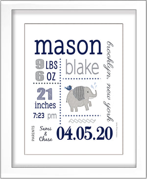 Baby Birth Stats Wall Art - Navy and Grey Cute Elephant