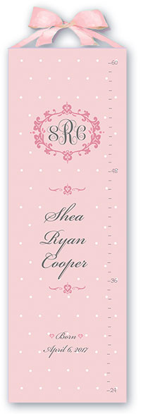 personalized growth chart - new baby girl nursery gift - pink dottie