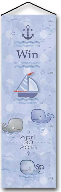 Personalized Growth Chart - Nautical Sailboat & Whales - Baby Boy Nursery Gift