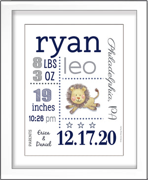 Baby Birth Stats Wall Art - Navy and Grey Cute Lion