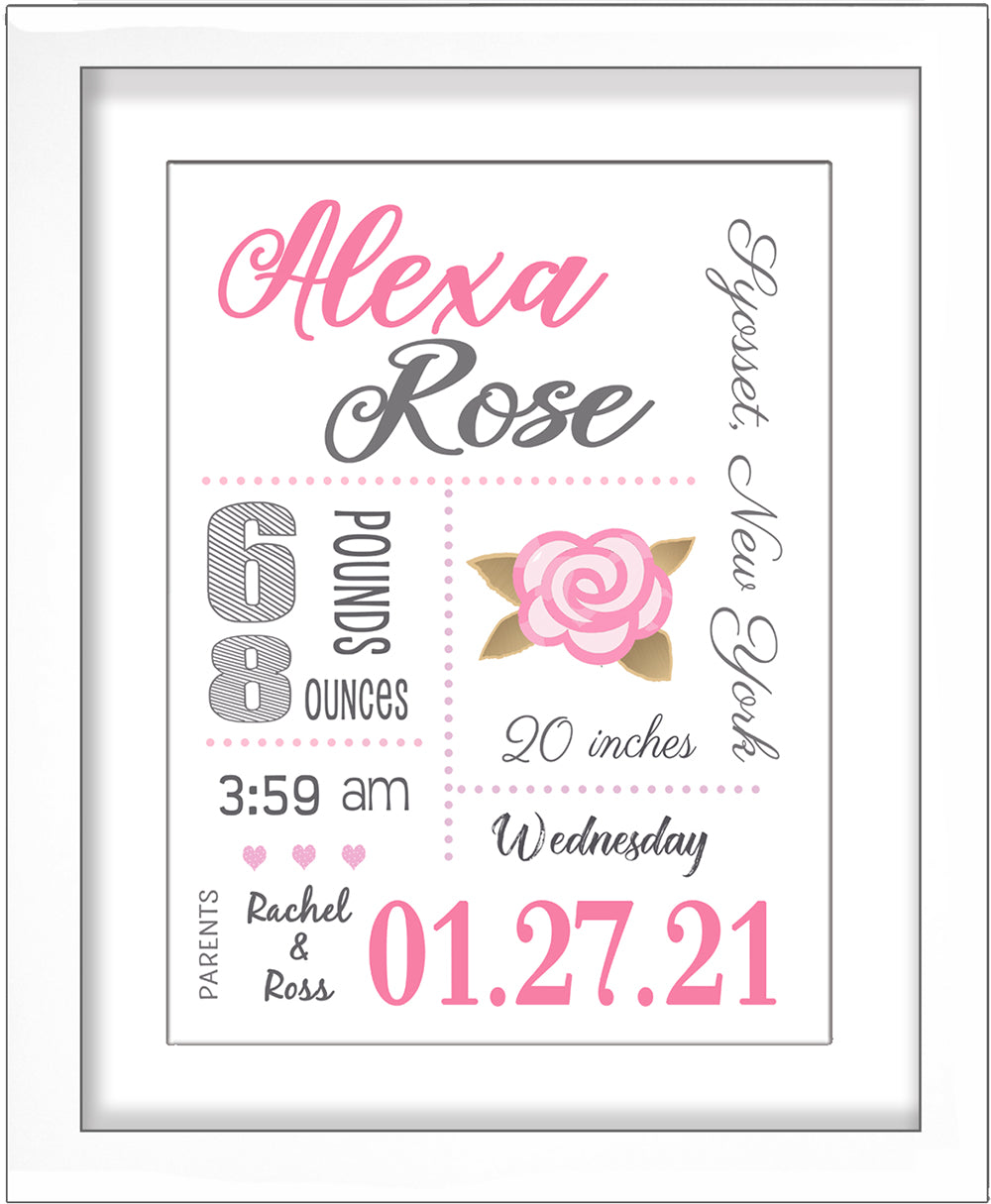 Baby Birth Stats Wall Art - Pink Rose with Gold Leaves
