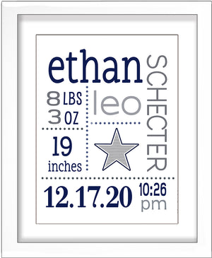 Baby Birth Stats Wall Art - Navy and Grey Bold Star