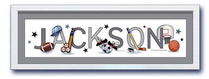 Sports Equipment Nursery Name Frame- Matted in Grey - Framed in White