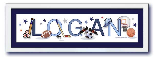 Sports Equipment Name Frame -Navy Mat - by Ronnies Design Studio