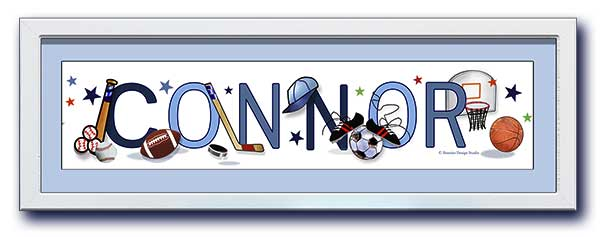 Name Frame Sports Equipment wall art boy pastel blues