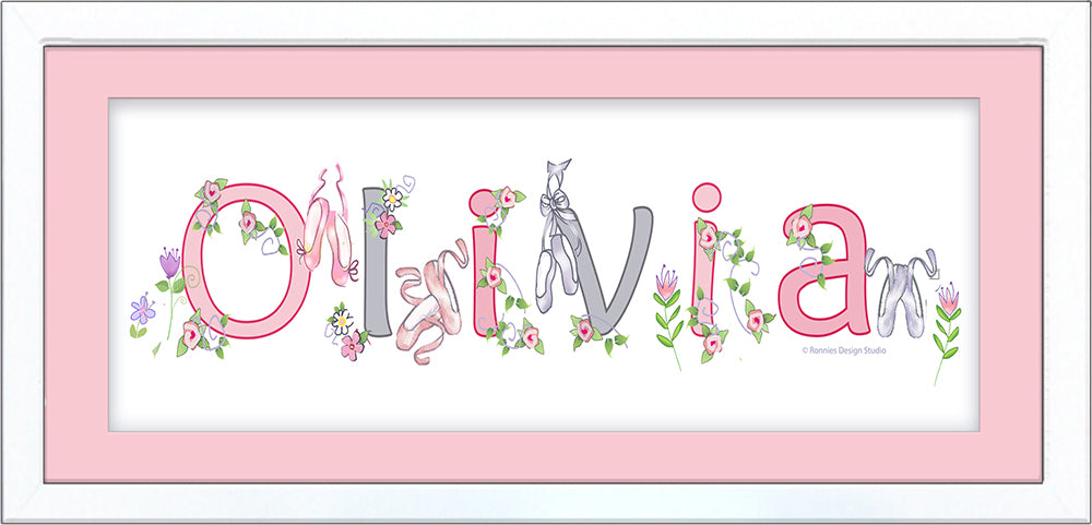 Ballet Shoes and Flowers Name Frame - Pink & Grey - by Ronnies Design Studio