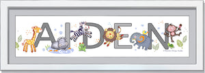 Cute Jungle Animals Name Frame Baby Boy- Soft Grey Mat