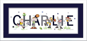 boy sports players name art baseball basketball football soccer