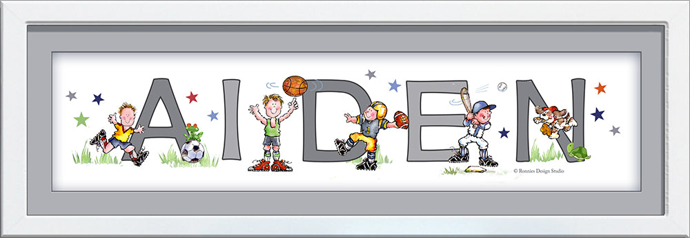 sports players name art cute football, basketball, baseball soccer grey boy wall art