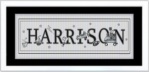 Vintage Nursery Toys Name Frame - Boy - Black & White - by Ronnies Design Studio
