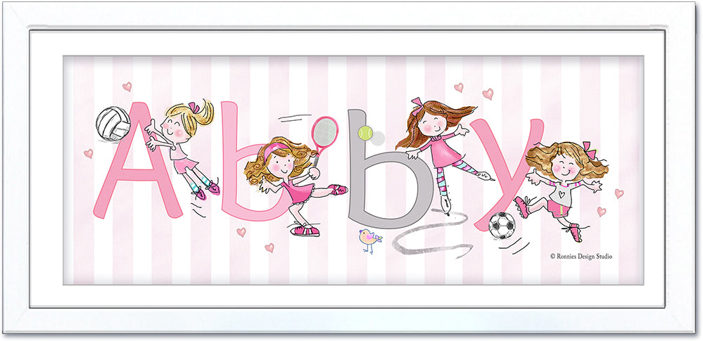 girls at sports name art personalized soccer velloeyball tennis ice skating pink
