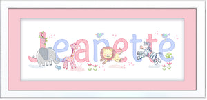 Cute jungle animals name frame pink baby girl wall art