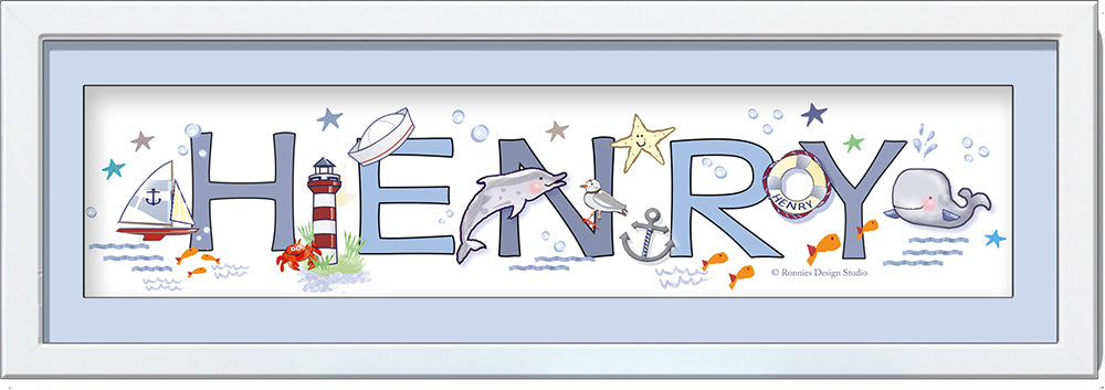 framed name frame nautical nursery soft blues grey whale sailboat dolphin starfish