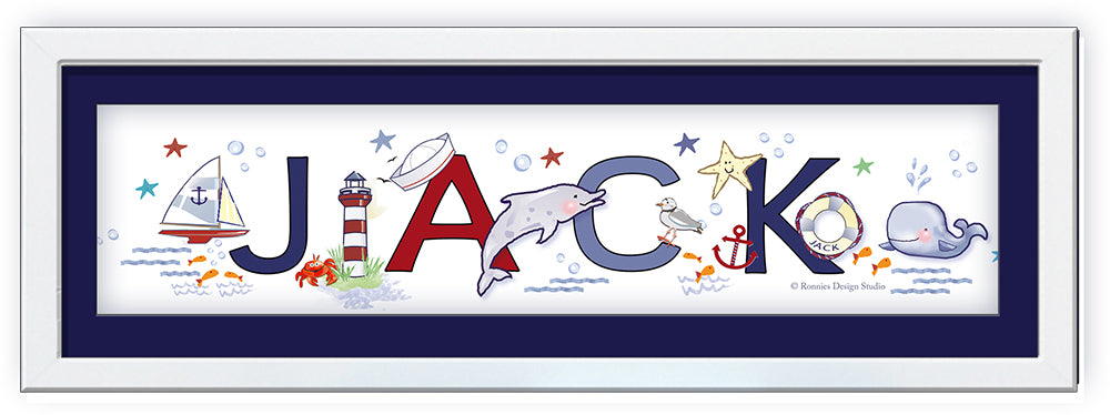 nautical nursery name art baby boy newborn gift whale sailboat dolphin