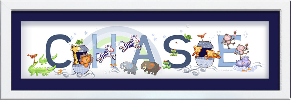 Noah's ark personalized newborn name frame cute happy animals