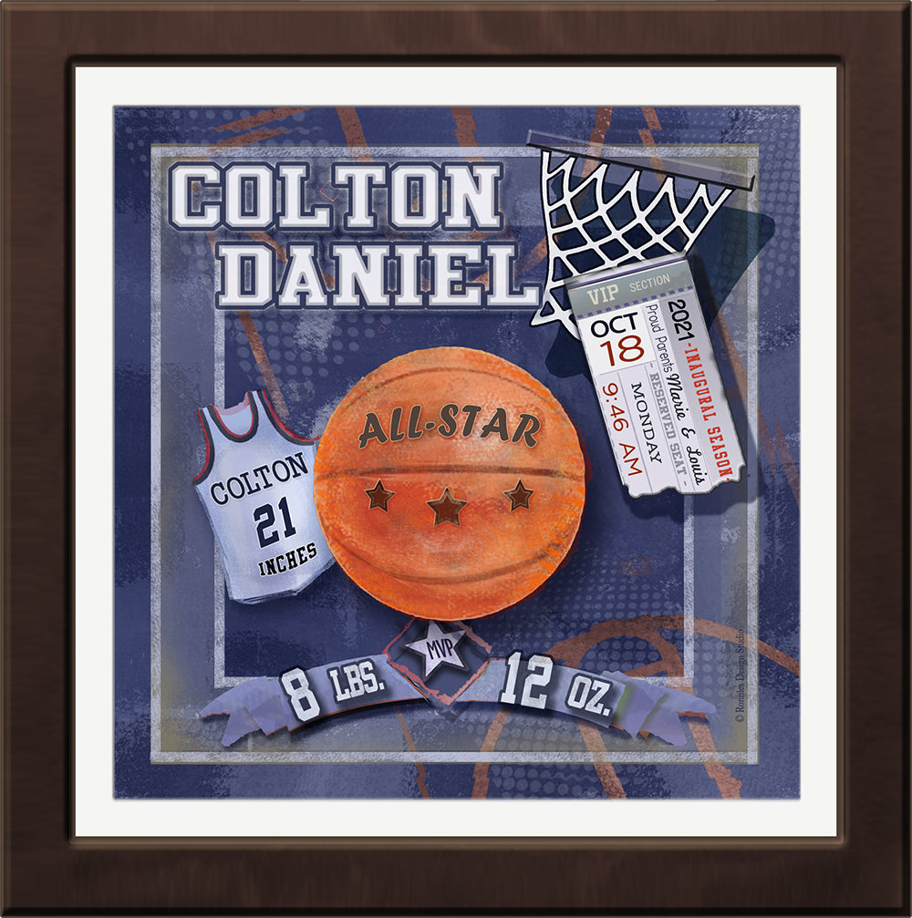 game day personalized baby basketball wall art sports