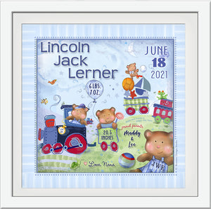 baby bears wall art birth details custom gift with train and toys