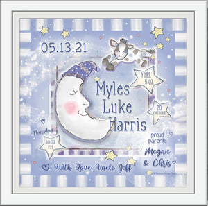 cow jumped over the moon birth art personalized  blue grey pastels baby boy