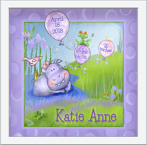 Baby Hippo Personalized Birth Art green environment frogs bird turtle