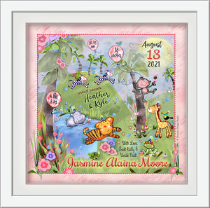 Pink jungle nursery wall art personalized baby animals