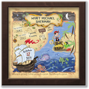cute little pirate and animals birth wall art blue grey