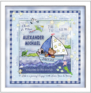 Personalized Sailboat and baby bear birth wall art with puppy kite