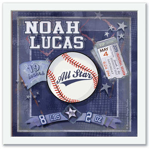 Personalized baseball birth certificate framed wall art for newborn nursery white frame