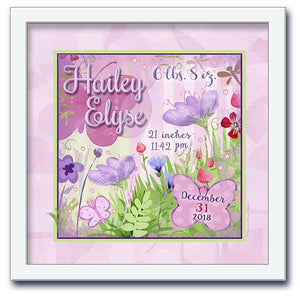 Butterfly Garden Personalized Wall Art- Lilac