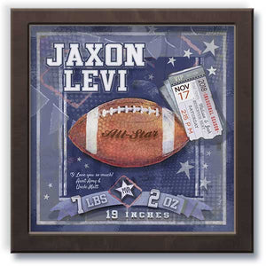 Football Framed Wall Art gift with baby birth statistics & ticket espresso frame