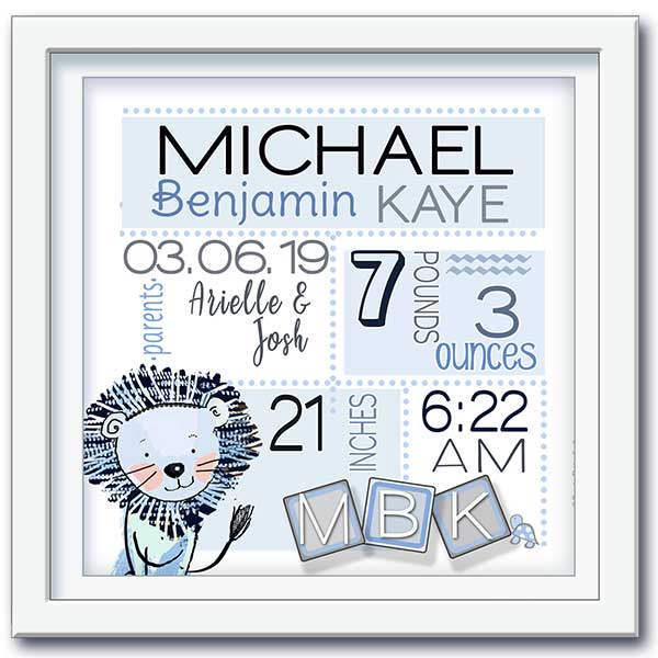 """Welcome Baby"" personalized newborn baby gift wall art-lion and birth statistics"