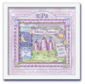 "Personalized ""a princess is born"" wall art in lilac with birth statistics"