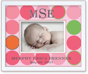Personalized Birth Announcement Picture Frame Big Colorful Dotsful