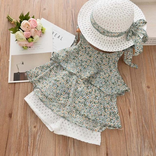 Sleeveless Floral Chiffon Dress - Hat Included