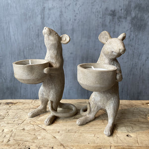 Mice Tea Light Holders (pair)