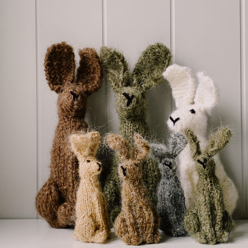 Hand Knitted Hares