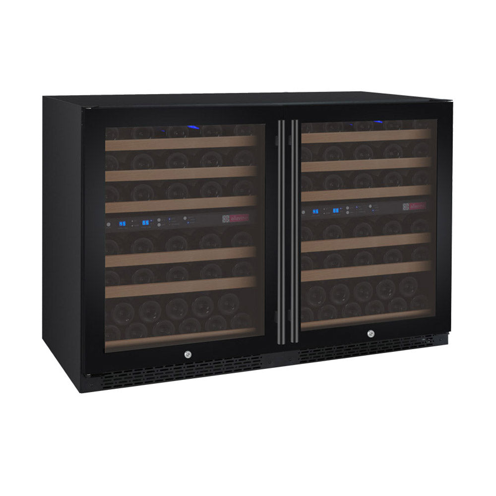 Allavino FlexCount II 112 Bottle Four Zone Black Side-by-Side Wine Cooler