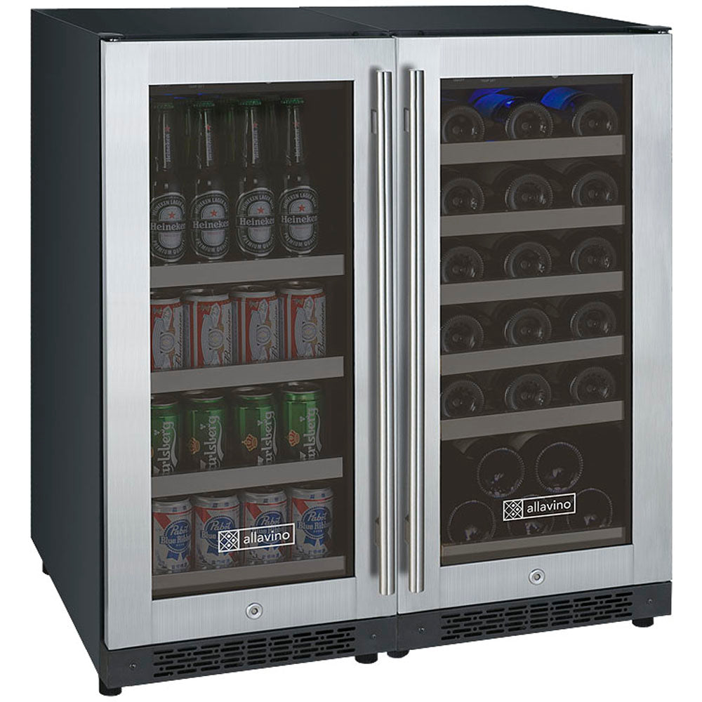 Allavino FlexCount II 30 Bottle/88 Can Dual Zone Stainless Side-by-Side Wine and Beverage Center