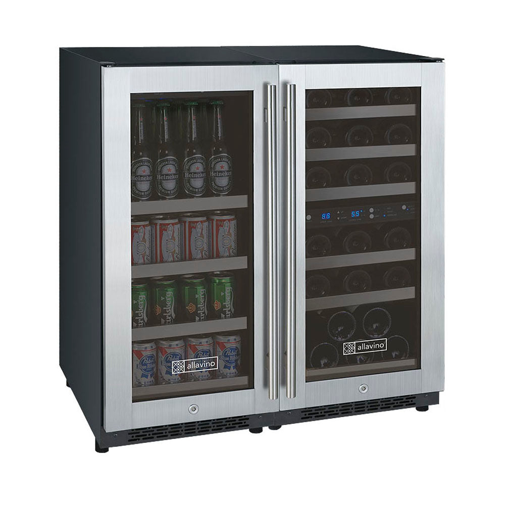 Allavino FlexCount II 30 Bottle/88 Can Three Zone Stainless Side-by-Side Wine and Beverage Center