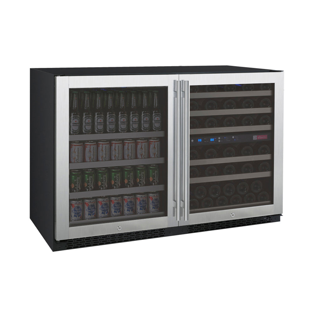Allavino FlexCount II 56 Bottle/124 Can Stainless Side-by-Side Wine and Beverage Center