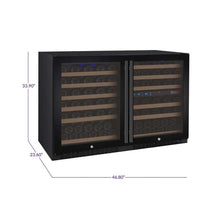 Load image into Gallery viewer, Allavino FlexCount II 112 Bottle Three Zone Black Side-by-Side Wine Cooler