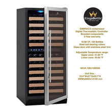 Load image into Gallery viewer, KingsBottle 100 Bottle Dual Zone Wine Cooler
