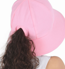 Load image into Gallery viewer, Ponytail Bucket Hat with Strap - Baby Pink, Bedhead hat - All Things Babies