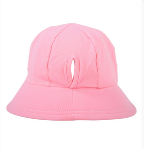 Ponytail Bucket Hat with Strap - Baby Pink, Bedhead hat - All Things Babies